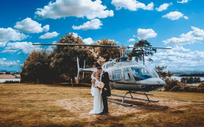 wedding helicopter, oakham wedding, barnsdale hall
