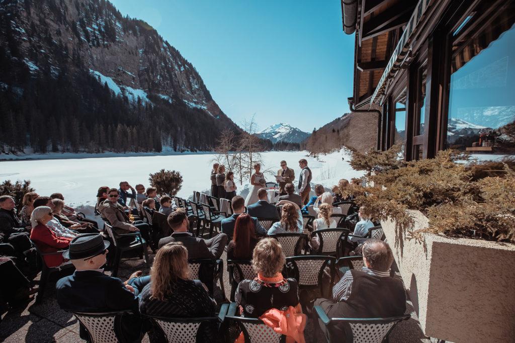 outdoor celebrant-led wedding, celebrant, outdoor, destination wedding, french alps